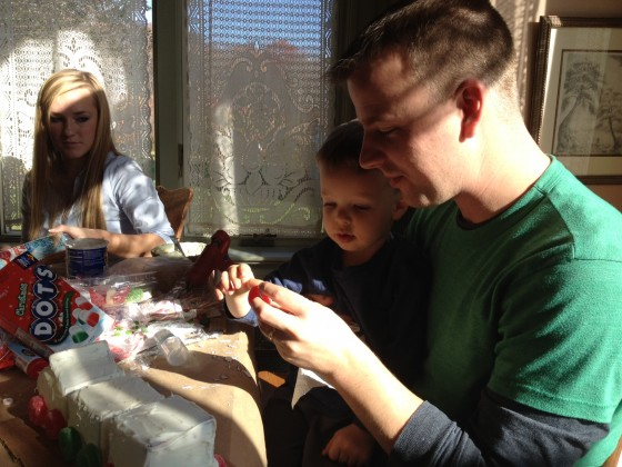 Lochlan and Jeffrey making the gingerbread train
