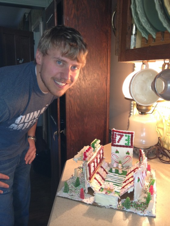 jake and football field gingerbread
