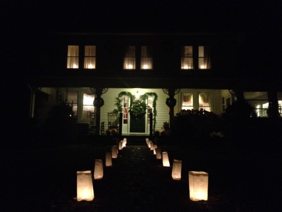 Luminaries lining path to our house.