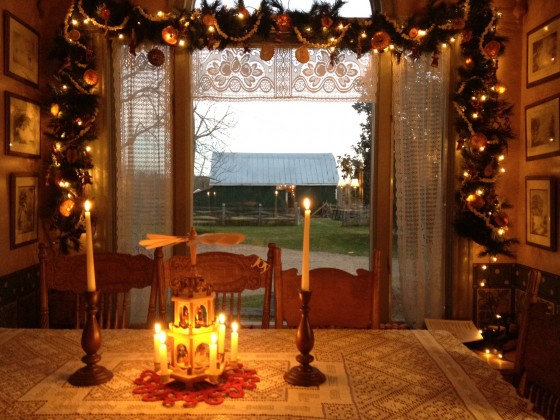 In years past I used these decorations for a Christmas tree in the dining room-this year for my kitchen window