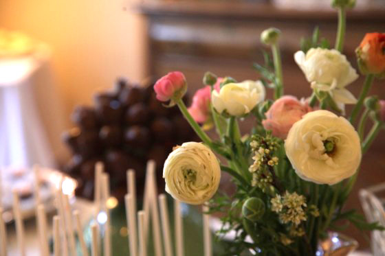 Chocolate covered strawberries and fresh flower arrangement- both made by sister, Hannah
