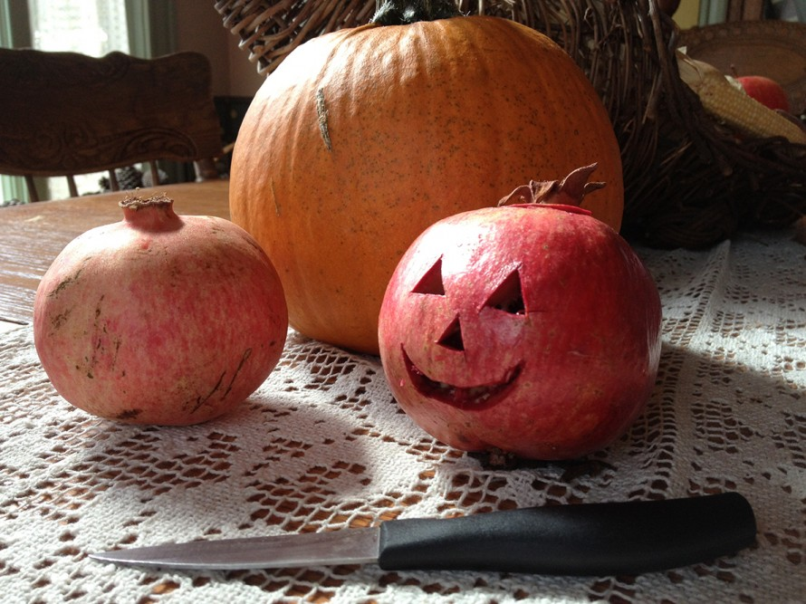 Pomegranite is hard fleshed and easy to use like a pumpkin- Crave with small knife, let dry and enjoy