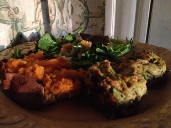Salmon puffs with sweet potato and alkaline salad-3/4 of the plate is alkaline-1/4 is healthy acid
