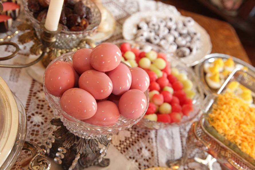 Pink pickled eggs, watermelon and cantaloupe balls