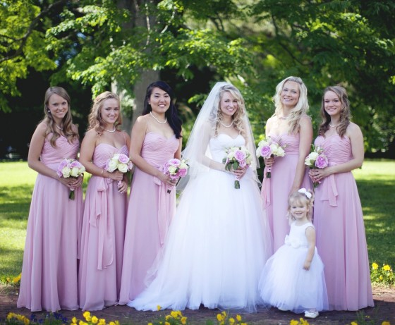 Her Bridesmaids and flower girl