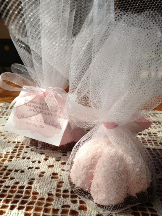 Wedding favors were homemade raspberry marshmallows dipped in chocolate- Recipe will be linked here by tomorrow