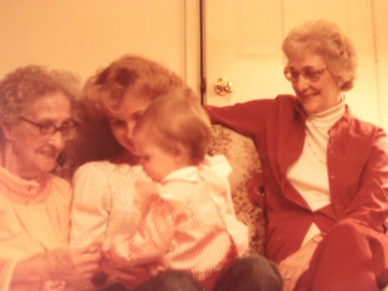 Great Grandma Rowley on far left, me holding our daughter Heather and Grandma Gray