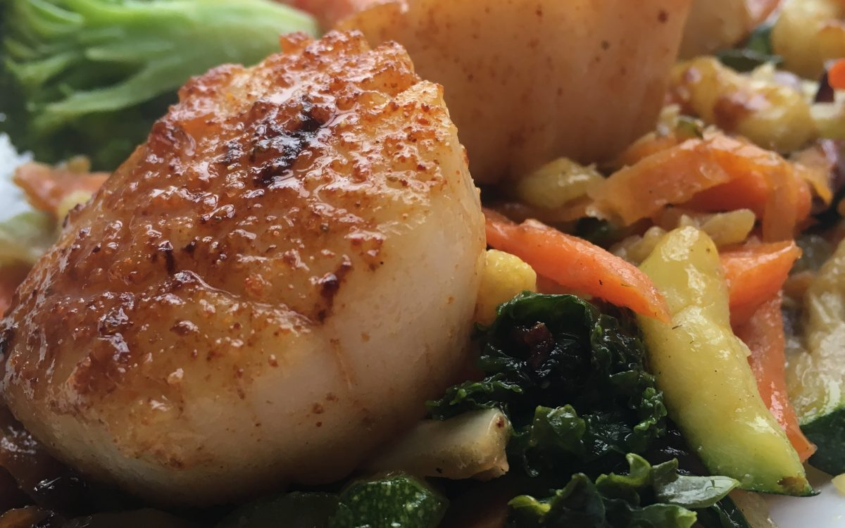 Seared Scallops over Sautéed Vegetables