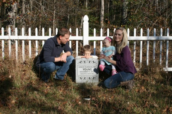 Jeffrey, Heather, Lochlan and Felicity at Grace's Grave site-November 4, 2012
