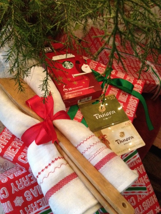 Winner of give-away will receive- two kitchen hand towels w/ wooden spoons (decoration sewn on by our daughter Hannah, a $15 Panera gift card and a Starbucks VIA Brew 12 pack. I'll do the drawing Wednesday at 10 AM EST. Check back to see if you won!