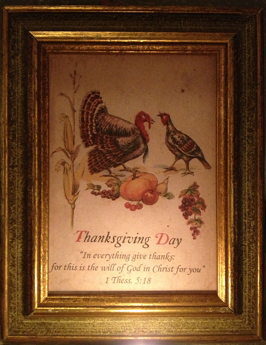 I'm going to send a copy of this retro Thanksgiving Day card to all my subscribers next week! Mine is framed and sitting in my kitchen window. You can find vintage frames at all thrift stores!