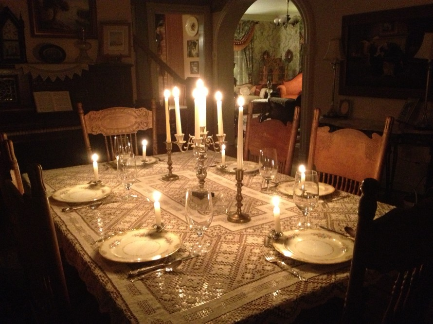 Our dining room table set for dinner guests