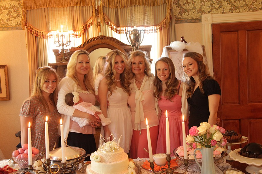 The bride-to be with her sisters and mom